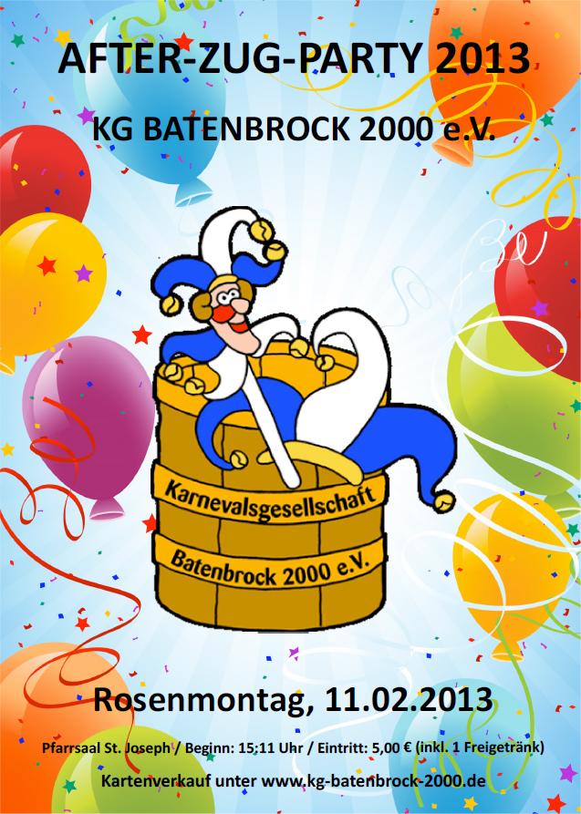 KG Batenbrock 2000 e.V. feiert wieder eine After-Zug-Party!